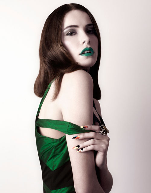 Green Dress designed by Tomasz Kociuba worn by model with Green Lipstick