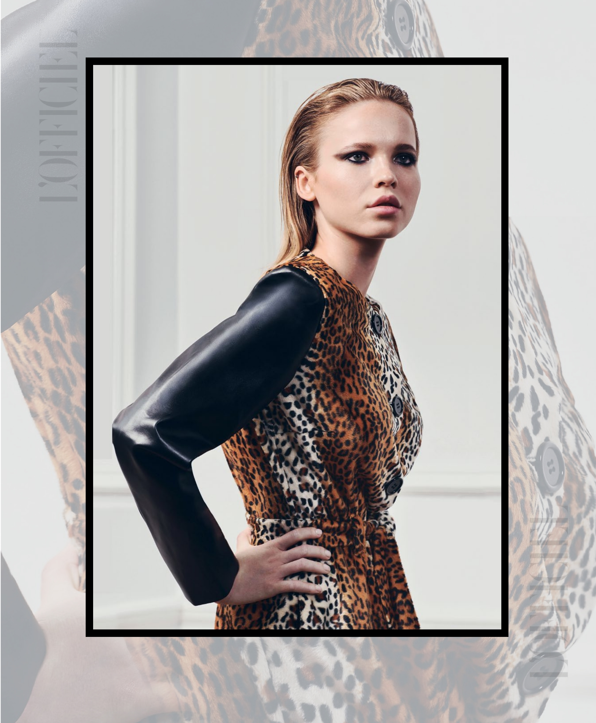 L'Officiel India features fashion designer Tomasz Kociuba animal print coat with faux leather