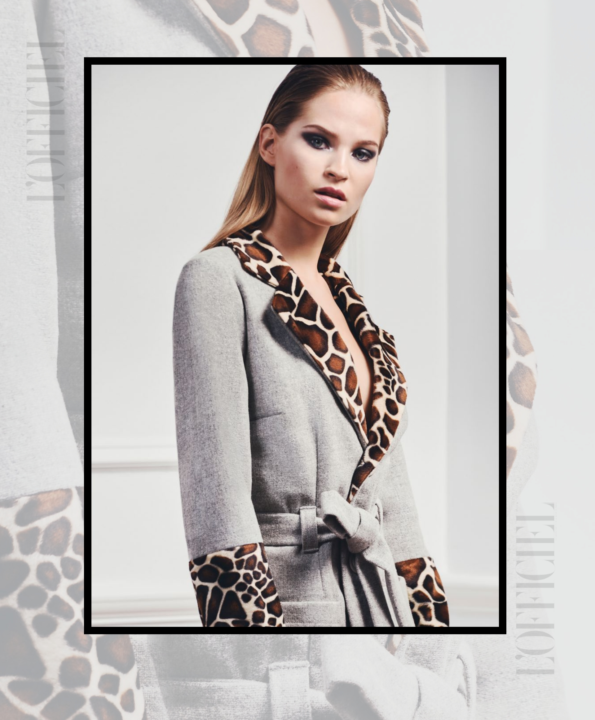 L'Officiel India features fashion designer Tomasz Kociuba animal print coat