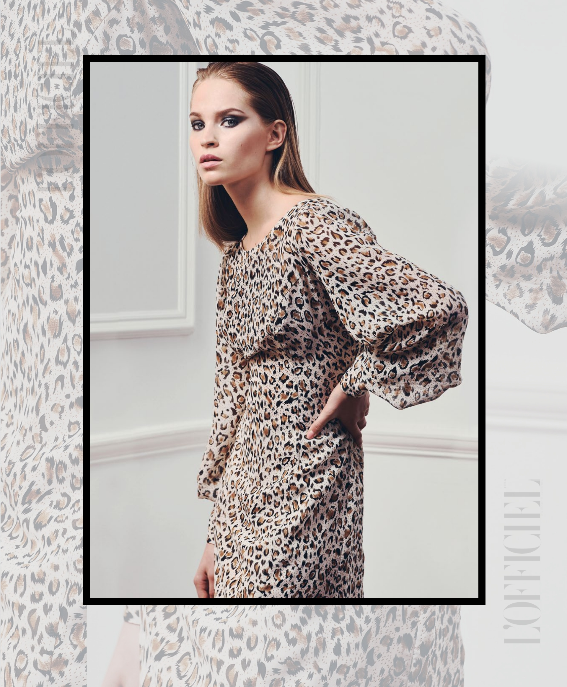 L'Officiel India Magazine features fashion designer Tomasz Kociuba animal print evening dress